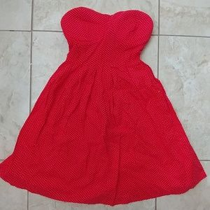 Red strapless sweatheart dress